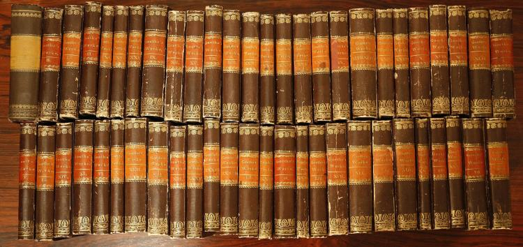 BINDINGS - A large quantity of mainly 19th-century books including Goethe's Werke. Stuttgart: J. G. Cotta'schen Buchhandlung, [1827-1833]. 54 volumes, 12mo. (Occasional spotting, light browning.) Boards, spines in brown, red and gilt (rubbed). (qty)