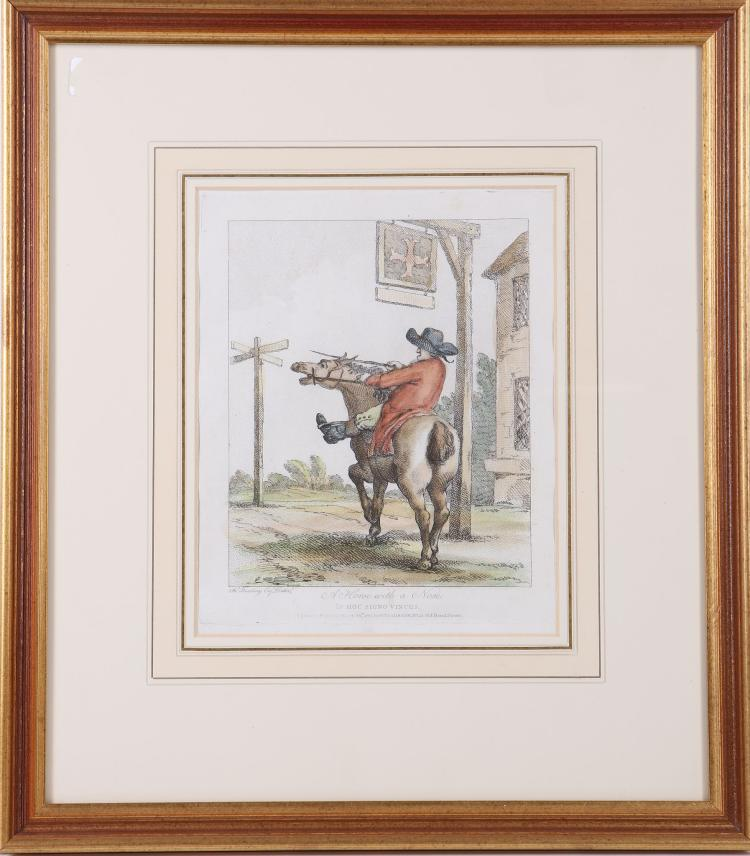 BUNBURY, Henry William (1750 –1811). 10 hand coloured equestrian relatedaquatints: 1) How to ride without a Bridle, 2) The Puzzle for Turk, Frenchman, or, Christian, 3) How to do Things by Halves, 4) How to Travel upon two Legs in a Frost, 5) Tricks upon Travellers, 6) The Tumbler, or its Affinities, 7) A Daisy Cutter with his Varieties, 8) A Horse With a Nose, 9) How to Make the Mare to Go. 10) How to Prevent a Horse Slipping His Girths. London: W. Dickinson, 1791. Average Dimensions: 270 x 210 mm.HOGARTH, William (1697-1764). Framed and glazed. Not examined out of the frames. (10)