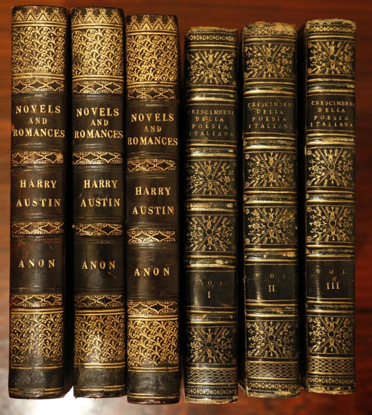 [WOOD, Henry].  Change for the American Notes: in Letters from London to New York. By an American Lady. London: Wiley & Putnam, 1843. 8vo. (A few spots.) Original cloth spine lettered in gilt (head and foot of spine chipped, some very light staining, inner hinges splitting). Provenance: W. Miller. Dickensiana (label). FIRST EDITION. cf. Podeschi H491; Wilkins p. 48. With various works in 26 vols. including G. M. Crescimbeni's Comentarj Intorno all' Istoria della Poesia Italiana (London, 1803, 3 vols.), J. Aikin's Geographical Delineations: or a Compendious View of the Natural and Political State of all Parts of the Globe (London, 1806, 2 vols.), Victor Alfieri's Memoirs of the Life and Writings (London, 1810, 2 vols.) and Guards, Hussars and Infantry. Adventures of Harry Austin. By an Officer (London, 1838, 3 vols.), the named books attractively bound in calf and morocco. (27)