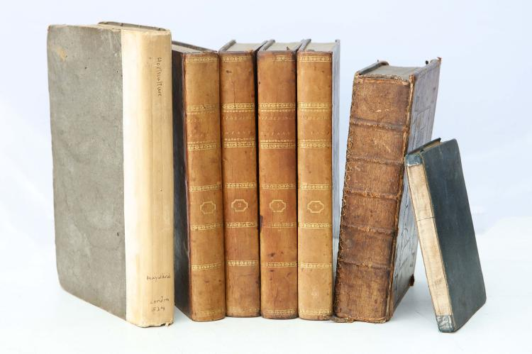 BOTANY/HORTICULTURE - A collection of works including Joseph Hayward's The Science of Horticulture. London: Longman, Hurst, 1824. 8vo. 13 folding engraved plates; and with William Withering's A Systematic Arrangement of British Plants. London: T. Cadell, 1801. 4 volumes, 8vo. Calf. With 2 other books. Sold not subject to return (7)