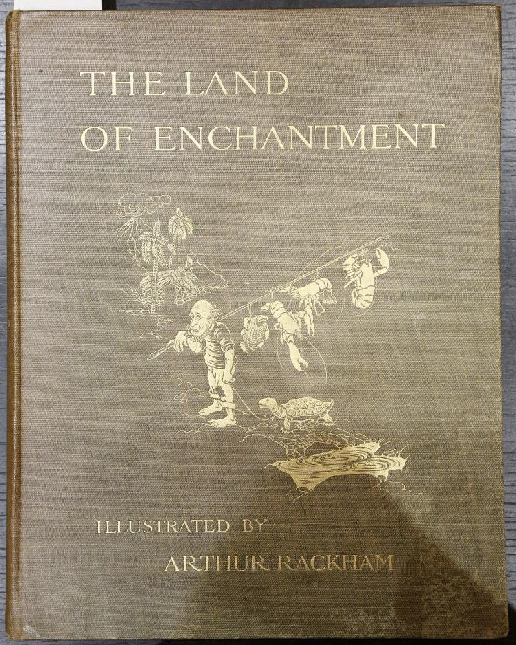 [BONSER, A. E., Bella Sidney WOOLF (1877-1960) & E. S. BUCHLEIM.  The Land of Enchantment. London: Cassell and Company, Limited, 1907. 4to. Printed on Japan paper, half title, frontispiece, title printed in red and black, and 35 tinted illustrations by Arthur Rackham, of which 12 full-page (some staining to the frontispiece's tissue guard). Original olive pictorial cloth gilt, gilt edges (some light water-staining to lower fore-corner of upper cover). Provenance: Joan Margery Impey (1907-2003, woodcut bookplate with monogram