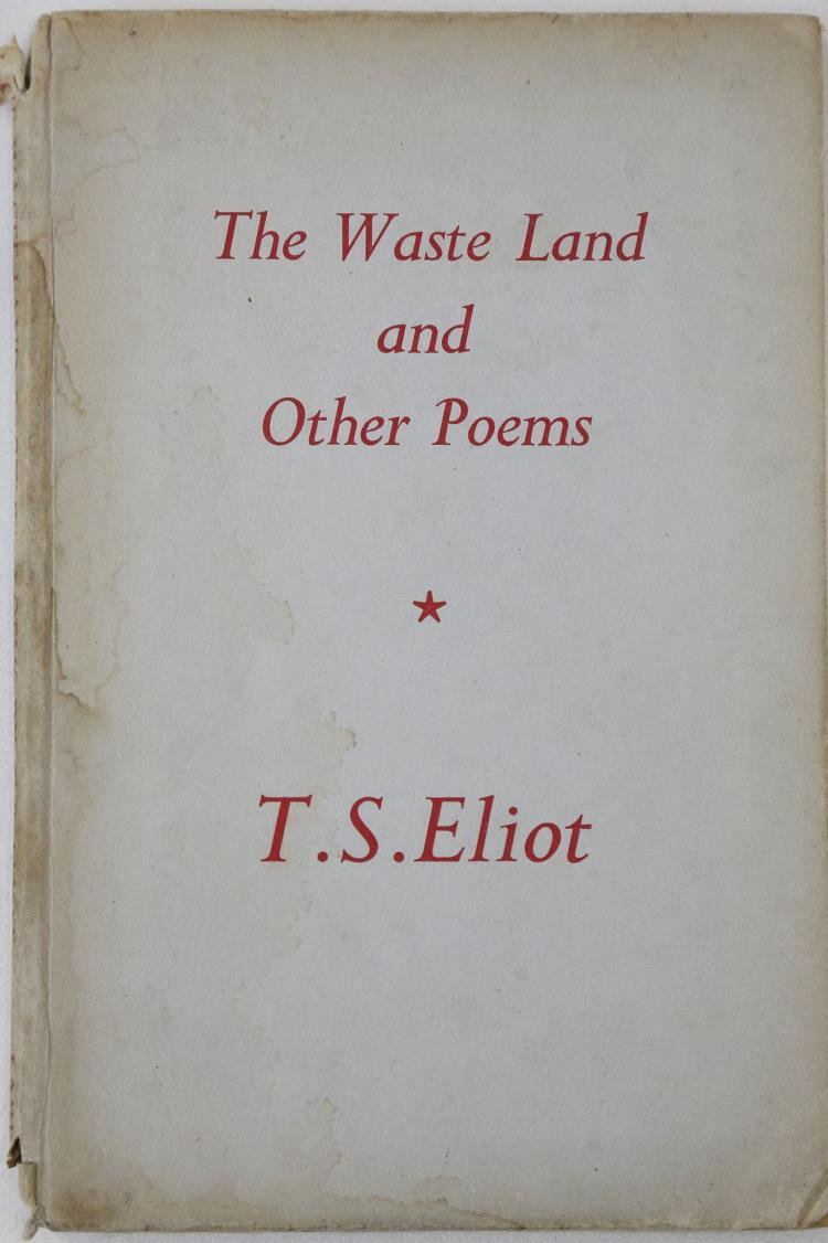 ELIOT, T.S. (1888-1965). The Waste Land and Other Poems. London: Faber and Faber, 1940. 8vo. (Occasional light spotting). Original blue boards lettered in red (without dust-jacket, covers lightly stained and chipped, spine chipped with loss, corners bumped). Provenance: Rachel Edward Lauder (signature). FIRST EDITION. With a collection of other works, mainly literature: P.D. JAMES' The Blood Tie. (London, 1980). UNCORRECTED PROOF. Wilhelmina STITCH's A Triple Stitch (London, 1933). SIGNED, Thornton Wilder's The Angel That Troubled the Waters (London, 1928). Provenance: Ralph Lewis Wedgwood (bookplate), Christopher LEE's* Remember Man (London, [n.d]). SIGNED, Christopher LEE's* Poems (London, 1937). SIGNED, Francis KING's The Custom House (London, 1961) PRESENTATION COPY, Rodney ACKLAND's The Dark River (London, 1942), Alfredo RIZZARDI'S Lirici Americani (Rome, [n.d].) SIGNED. *Not the actor Christopher Lee (1922-2015). (9)