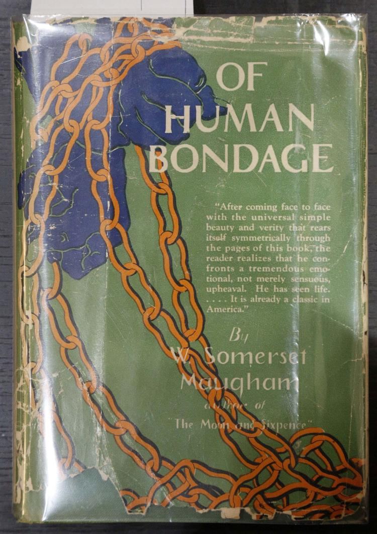SOMERSET MAUGHAM, William (1874-1965). Of Human Bondage. [?New York:] Grosset & Dunlap, 1915. 8vo. Half title, title printed in green and black. Original green cloth with labels, dust-jacket (creased and torn with some loss). SIGNED AND DATED BY THE AUTHOR on the front free endpaper.