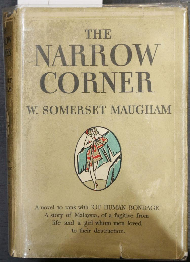 MAUGHAM, W. Somerset (1874-1965). The Narrow Corner. New York: Doubleday, Doran & Company, 1932. 8vo. (Occasional staining to margins). Black cloth (stained), with gold pictorial dust-jacket (chipped with some closed tear, hinges splitting). SIGNED by Maugham on the title page. FIRST AMERICAN EDITION (?)