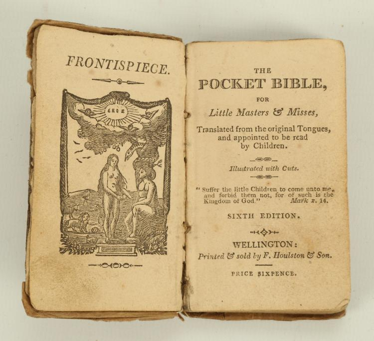 The Pocket Bible for Little Masters and Misses. Wellington: F. Houlston & Son, [1809 or earlier]. 50 x 90mm. Woodcut illustrations (some light browning). Contemporary half calf (worn, lacking spine). FIRST EDITION. RARE. Only 3 copies listed in COPAC. Opie Collection L42 (bearing an inscription dated 1809).