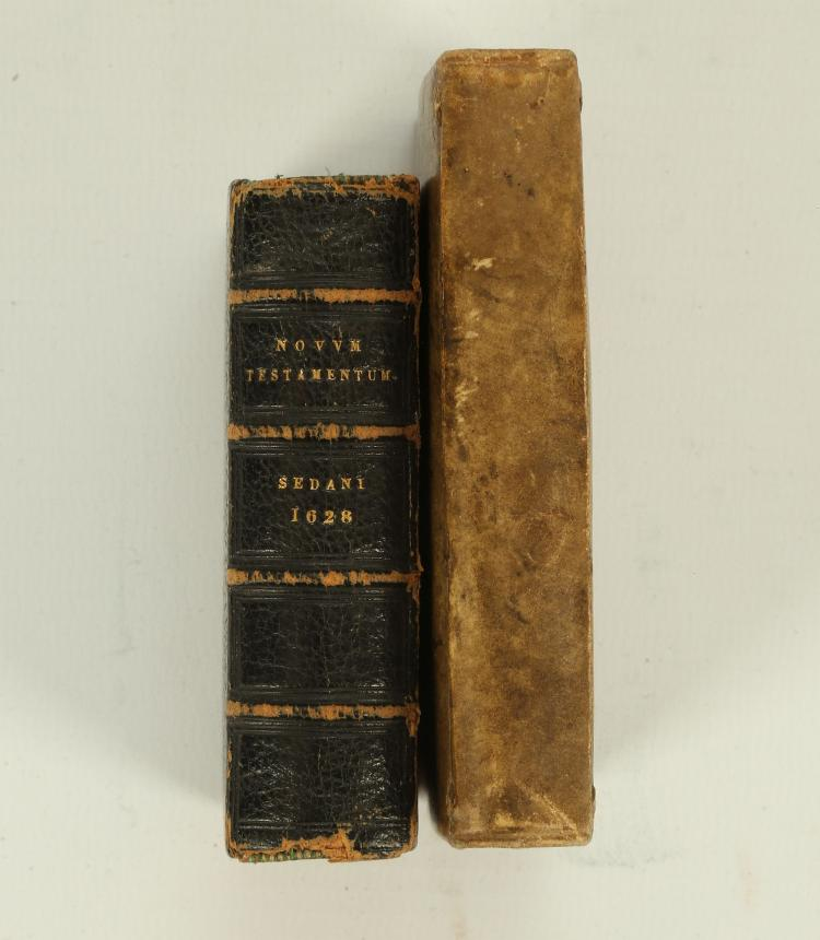 [BIBLE in Geek]. Novum Jesu Christi Domini Nostri Testamentum. Ex Regiis Aliisque Optimis Editionibus Cum Cura Expressum. Sedani: Jannis Iannoni, 1628. 8vo. (Though 24mo). 80mm x 50mm. (Lightly browned). Later 19th centuryblack calf (extremities rubbed, corners bumped). With: [Severino Boezio]'s Anicii Manlii Torquati Severini Boethii De Consolatione Philosophiae Libri V Cum prefatione P. Bertii. Amsterdam: Joannem Blaeu, 1649. 8vo. (Though 24mo). 90mm x 55mm.Original velum (rubbed). (2)