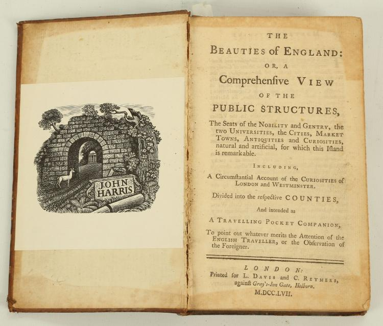 PROSSER, George Frederick (1805-82). Select Illustrations of the County of Surrey comprising Picturesque Views of the Seats of the Nobility and Gentry. London: C. and J. Rivington, 1828. 4to (290 x 228mm). 34 lithographed plates only (of 45) by G. F. Prosser, vignettes (some heavy spotting to first few leaves, some text leaves spotted and browned, but plates generally clean). Contemporary half calf and marbled boards, spine with red and green morocco lettering-pieces (upper cover detached, rubbed). Provenance: John Harris (bookplate). FIRST EDITION.With 6 other topographical books, namely The Beauties of England ... Intended as a Travelling Pocket Companion(London, 1757, calf), J. Throsby's Select Views in Leicestershire (London, 1789, lacks dedication leaf, subscribers list and plate of portraits at p.124), The Windsor Guide (Windsor, 1800, modern boards, new edition), S. Middiman's Select Views in Great Britain (London, [c.1812]), Excursions in the County of Surrey (London, 1821, morocco), and William West's Picturesque Views ... in Staffordshire & Shropshire (Birmingham, 1830, 2 vols. bound in one, lacks portrait of Abednego Matthews in vol. II). The lot sold not subject to return. (7)