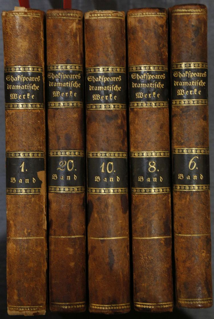 BINDINGS - Shakespeare's Dramatische Werke. Wien: Anton Dichler, 1812. 19 volumes (of 20). (Occasional light spotting). Contemporary, though possibly later half calf (spine rubbed, boards rubbed). Provenance: Hanns Freiherr von Jaden (bookplate). (19)