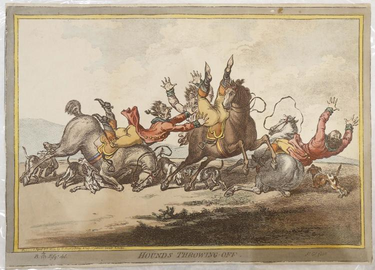 SATIRICAL ENGRAVINGS - Including W. Heath's Come To My [H]arms King of the Protocals!!! [London, 1807?]. 320 x230 mm. (Trimmed with loss to printer and date information, lightly browned). With 4 other engravings, two of which relate to Sebastopol. (5)
