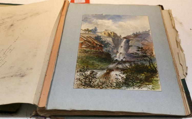 ALBUM - c. 1850's-80's. Folio. Including: Watercolours, pencil illustrations of rural scenes and Haddon Hall by T.J. Marple. Original green half calf (upper board detached, spine and boards worn).  Provenance: Removed from an album belonging to Colonel Sir Henry Wilmot Lucknow (1831-1901) who was awarded the Victoria Cross in 1858 and fought in the Second Opium War in China.