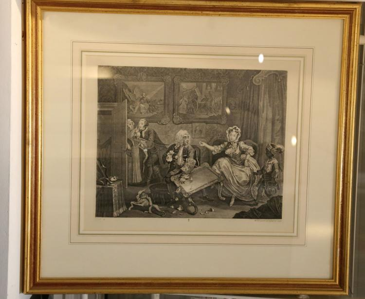 HOGARTH, William (1697-1764). A Harlot's Progress. 6 engraved plates by William Hogarth. [?London, Baldwin and Cradock, 1822]. Framed and glazed. Average dimensions: 420 x 340mm. Unexamined out of the frames. (6)