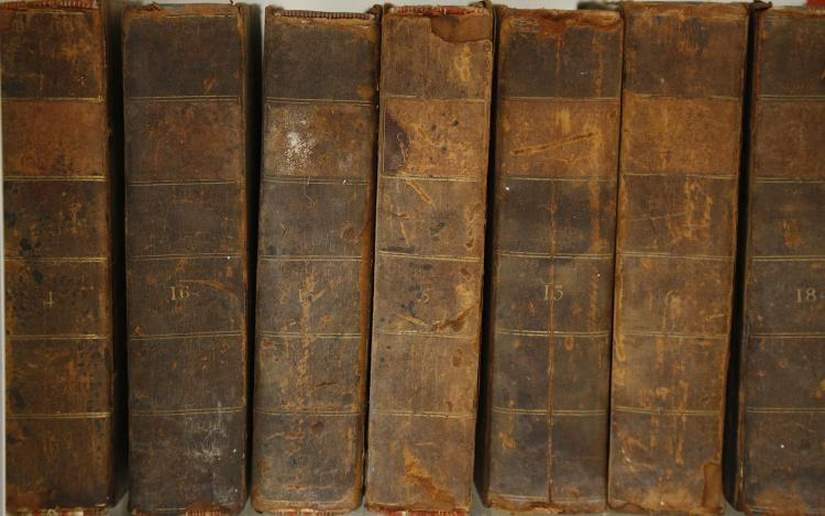 The British Critic. A New Review. London: F. and C. Rivington, [1795-1801]. 7 volumes (various). (Occasional staining and spotting.) Contemporary half calf (worn). Sold not subject to return. (7)