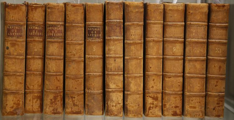 The Present State of the Republick of Letters [ for January etc.]. London: William and John Innys, [& R. Manby], [1728-36]. 18 volumes, 8vo. (Occasional light spotting and browning.) Contemporary calf (one vol. rebound in the late 18th-century, worn). Provenance: Plummer of Middlestead (bookplate). Sold not subject to return. (18)