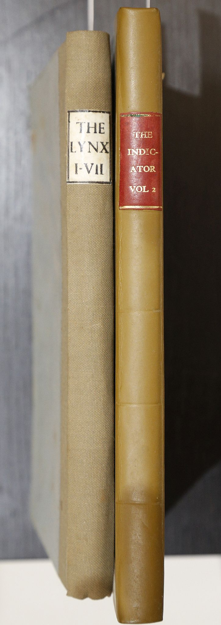 The Lynx No. 1 - No. 5, No. 7. London: H. D. Symonds, [n.d]. 8vo. (No. 6 supplied in facsimile, light browning.) Later blue and olive quarter cloth (new endpapers, covers lightly soiled). With [Leigh Hunt]'s The Indicator. London: Joseph Appleyard, [n.d]. 8vo. (Light browning). Later quarter calf (worn). (2)