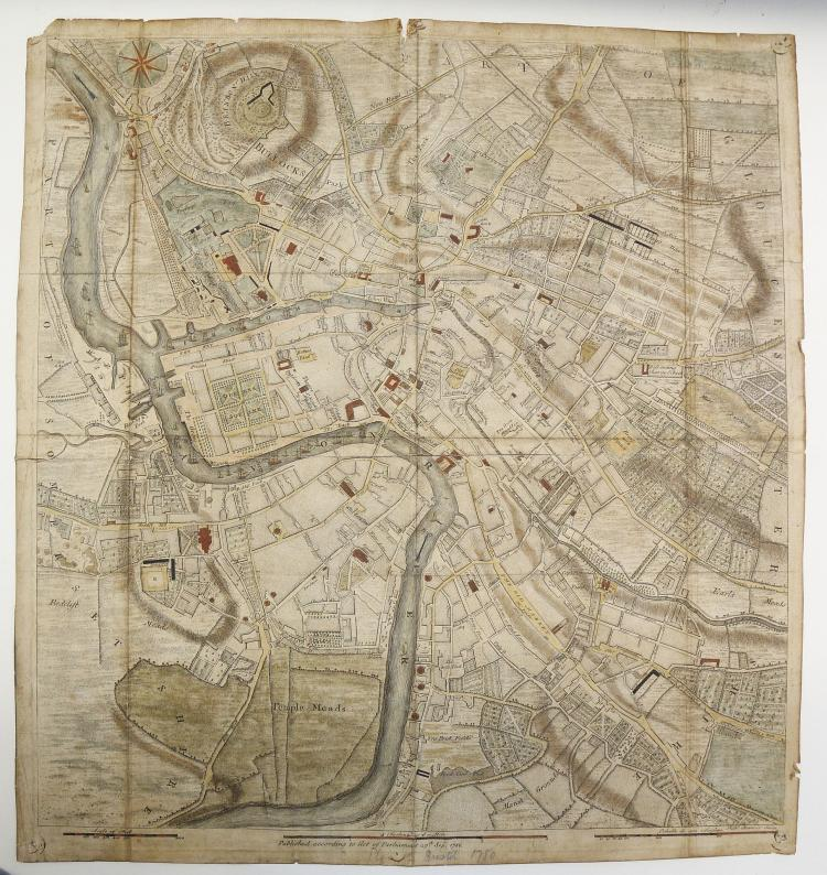 BRISTOL - Hand-coloured engraved map of Bristol. [No Place]: Published according to act of Parliament, 1780. 500 x 460mm(splitat centrefold, browned, clear and paper tape repairs to verso). With a hand coloured engraving