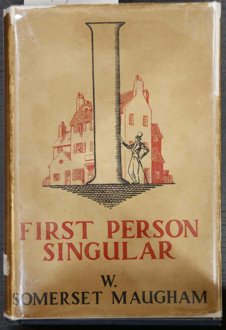 MAUGHAM, W. Somerset (1874-1965). Six Stories Written in the First Person Singular. London: William Heinemann Ltd., [1931]. 8vo. (Light browning). Original blue cloth lettered in gilt, with tan pictorial dust-jacket lettered in red and black (chipped with some loss). SIGNED by Maugham on the title page. FIRST EDITION.