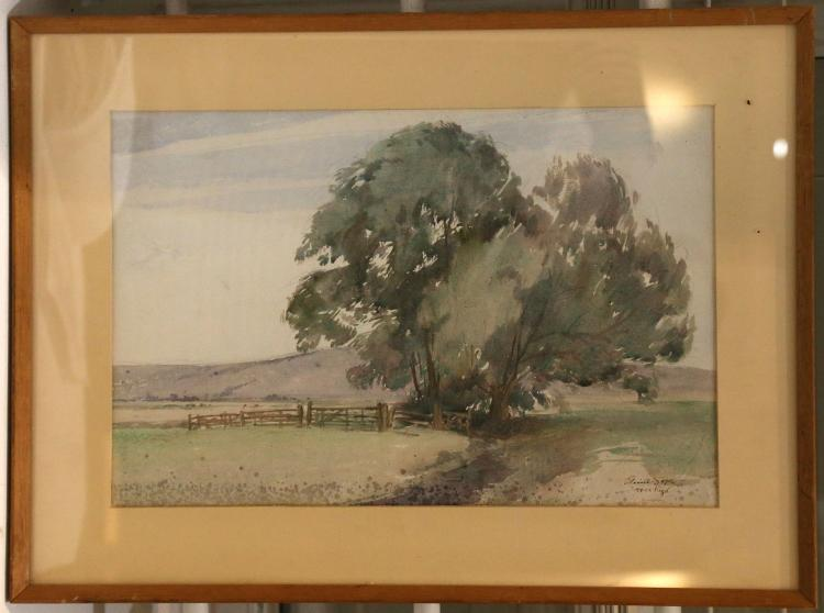 SOPER, Eileen Alice (1905-90). Oil on canvas board of two Impalas in the Veld, signed to lower right and framed; and a watercolour landscape titled 'Near Rye', signed and titled to lower right, mounted and framed. Plus a copy of Duff Hart-Davis' book 'Wildings - the Secret Garden of Eileen Soper', 1991.Eileen A Soper (daughter of the engraver, etcher and illustrator George Soper) was a noted etcher and illustrator, excelling in the depiction of children, and the animals that visited and colonised the large wildlife sanctuary that her father had created [see the book 'Wildings' by Duff Hart-Davis included with this lot]. As an illustrator she collaborated most notably with Enid Blyton, illustrating the entire series of Famous Five adventures and a vast range of other books, in addition to twenty-three books about nature or anthropomorphic subjects which were written and illustrated by Soper. She was founder member of the Society of Wildlife Artists (1964) and elected a member of the Royal Society of Miniature Painters (1972). (3)
