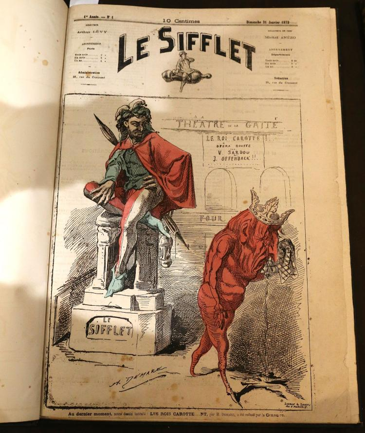 ANEZO, Michel (editor). Le Sifflet. Paris: [No Pub], 1872. Folio. No's 1- 29. Hand coloured satirical engravings (One page torn without loss to text, another page torn with significant loss, spotting). Later half morocco (faded) Provenance: Bibliotheca Lindesiana.