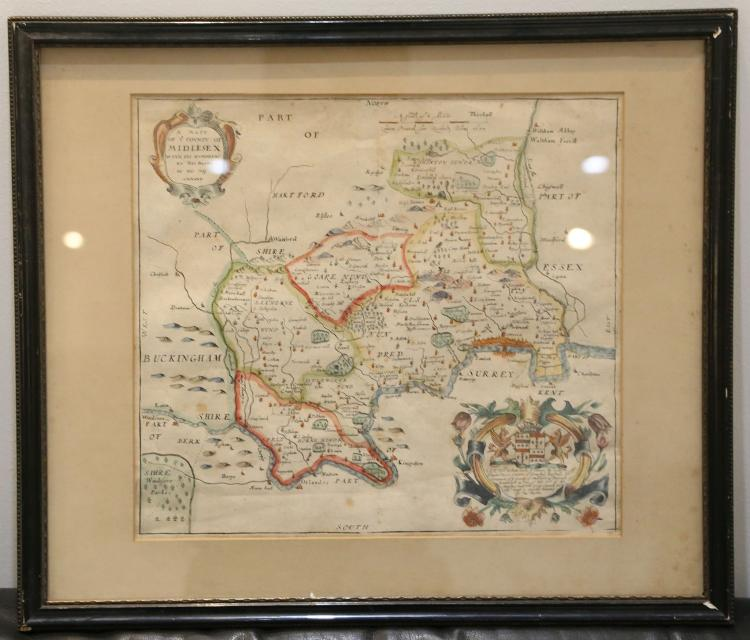 MIDDLESEX - C. & J. GREENWOOD. Map of the County of Middlesex. London: 1829. Large hand-coloured engraved map, vignettes of Westminster Abbey and St. Paul's Cathedral, 530 x 645mm., framed and glazed. With Richard Blome's A Mapp of ye County of Middlesex (London, [n.d.]) and Robert Morden's Wiltshire ([London], c. 1685). All maps framed and glazed.(3)