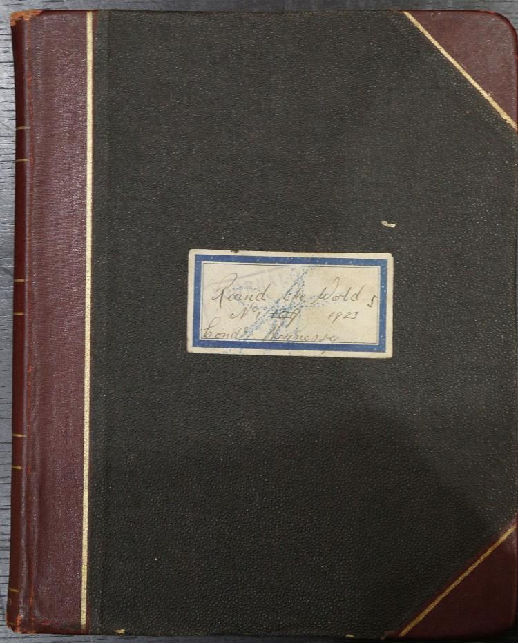 TRAVEL - Thomas Cook & Son World Tour. G. J. Hennessy, tour guide with Thomas Cook and Son, London travel agents [Thomas Cook & Son]. Manuscript set of accounts of 'R/W [Round the World] Tour No 1'., with a party of ten, compiled by the tour guide G. J. Hennessy. France, Ceylon, India, Burma, Nepal, Singapore, Java, Hong Kong, China, Korea, Japan, America, Canada. 23rd November 1922 to 1 July 1923.