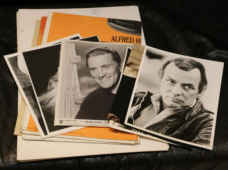 FILM & TV. A small collection of ephemera and autographs including a poster for the 1976 Alfred Hitchcock film