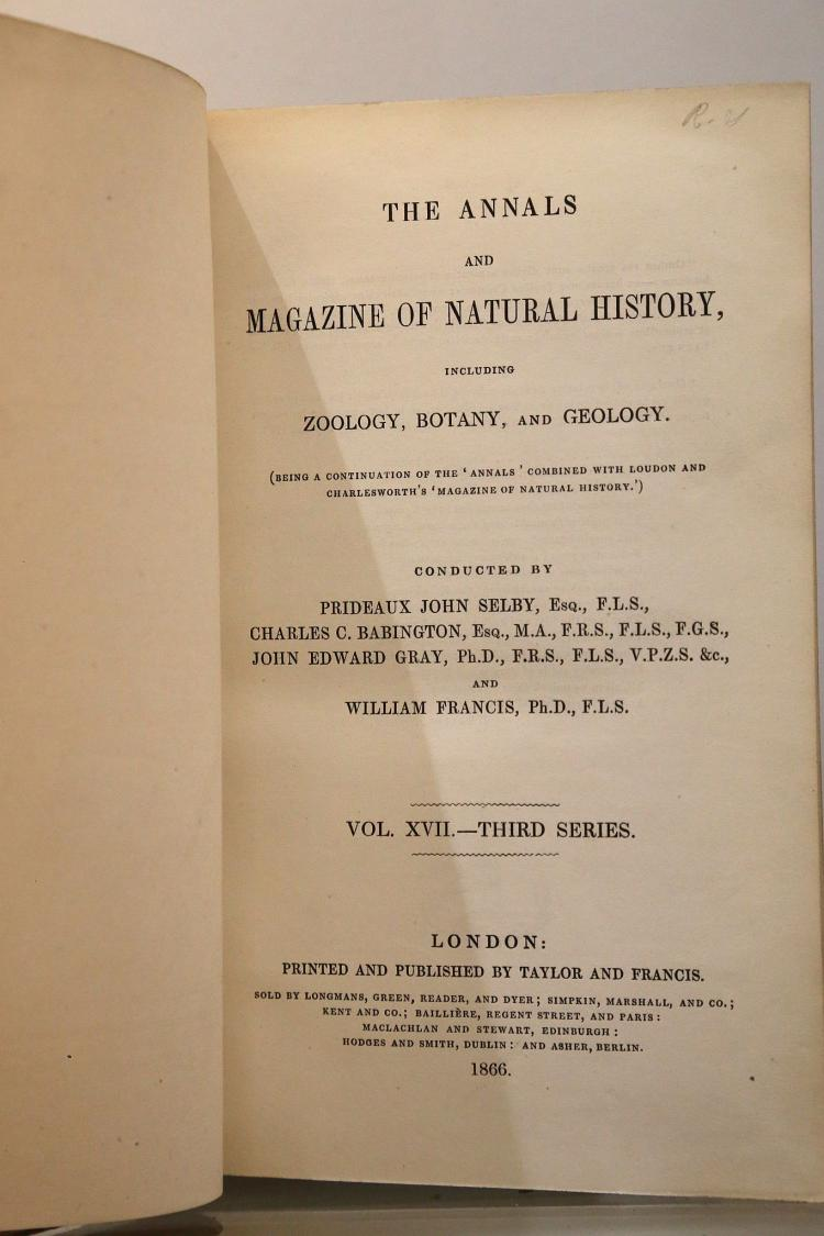 BABINGTON, Charles C., John Edward GRAY & William FRANCIS.  The Annals and Magazine of Natural History. London: Taylor and Francis, 1867. 16 volumes, 8vo. Lithographed plates, illustrations. Contemporary calf (very worn). (16)