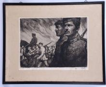 OSKAR GRAF, (1873-1957), GERMAN SOLDIERS MARCHING WITH A MOUNTED OFFICER BEYOND, CIRCA 1914, signed and annotated in margin,a soft ground etching, plate 30.5x40cm, with frame 48.3x59.9cm.
