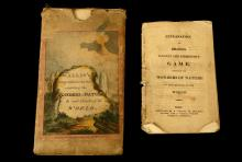 WallisÕs elegant & instructive game exhibiting the Wonders of Nature in each quarter of the world.Ê London: E. Wallis, Nov. 1818.   Lithographed game hand-coloured and mounted in 12 sections on linen. 620mm x 470mm. With: rare instruction booklet of pp. 24. (lightly browned) and originalÊpictorial slipcase (worn). ÊAn educational travel race game.