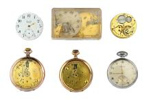 Zenith. 6 pocket watches/movements.  Restorers lot, comprising of all Zenith components.  (6)