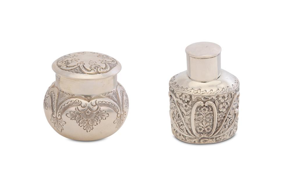 antique sterling silver tea items including tea caddies
