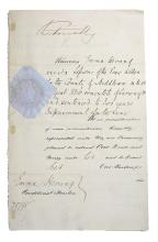 Victoria, Queen of England   Royal Warrant signed ('Victoria R.I.') being a pardon for Emma Herring on condition