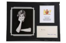 Diana, Princess of Wales   Ink signature on white page, dated by Diana in a different ink