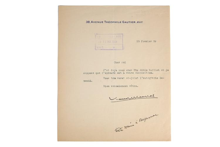 Mauriac (Francois) Autograph letter signed ('F  Mauriac