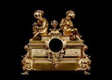 A THIRD QUARTER 19TH CENTURY FRENCH GILT BRONZE FIGURAL CLOCK CASE