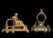 TWO MID 19TH CENTURY FRENCH GILT BRONZE FIGURAL CLOCK CASES