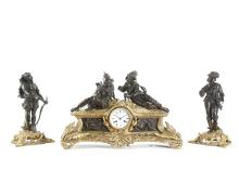A LARGE LATE 19TH CENTURY FRENCH GILT AND PATINATED BRONZE FIGURAL CLOCK GARNITURE BY ALIX A PARIS
