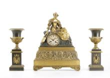 AN EARLY 19TH CENTURY FRENCH GILT AND PATINATED BRONZE FIGURAL MANTEL CLOCK GARNITURE