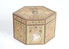 A GEORGE III ROLLED PAPER 'FILIGREE' AND INLAID TEA CADDY