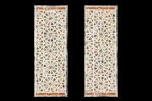 A RARE PAIR OF 15TH / 17TH CENTURY EGYPTIAN MARBLE MOSAIC PANELS, EARLY OTTOMAN / LATE MAMLUK  the various polychrome marbles inlaid in a stylised geometric design,  124cm x 43cm each (2)   Provenance:  Reputedly removed from the Cairo residence of the family of Egyptian Prime Minister Nubar Pasha (1825-1899).   Related Literature: Similar coloured marble panels dating from the 15th to the 18th century can be seen illustrated in 'Prisse d'Avennes', Arab Art, Paris 1877, pl.52.   A similar panel was sold at Sotheby's, London, 19 October 2016, lot 233.