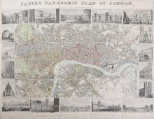 London.- Fraser (James)   Fraser's Panoramic Plan of London, steel engraved map, hand coloured, bordered by 18 engraved vignettes of London views and architecture, sections and mounted on linen, original cloth boards, right sheet edge creased, slightly affecting vignettes, light marginal staining, boards slightly frayed and stained, 430 x 580mm, 1831.