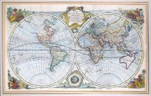 Bowen (Emanuel)   A New and Accurate Map of all the Known World, double-hemisphere world map, from Harris' 'Voyages and Travels', copper engraved, hand-coloured, central title cartouche, 5 border vignettes representing the continents, incomplete coastline of Australia merging with New Guinea, part of North America and Canada unknown, 480 x 690mm, 2 vertical folds, minor surface dirt, [1714].