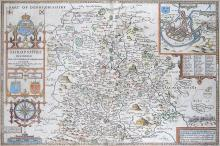 Speed (John)     Shropshyre Described, the Situation of Shrowesbury Shewed, from the 'Theatre Of The Empire of Great Britain', large strapwork title cartouche at left side, surmounted by royal arms and with compass rose below, inset plan of Shrewsbury at upper right hand, coloured engraved map, 390 x 510mm, mounted on support board, framed and glazed, central vertical fold, Bassett & Chiswell, [1676].