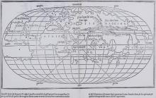 Bordone (Benedetto)  [World], the second earliest map presenting the world on an oval projection, woodcut map, 215 x 380mm., Italian text below and on verso, central vertical fold, [Shirley 59], Venice, [1528].    ***This map was based on the first known world map on an oval projection, by Francesco Rosselli around 1508. The major differences are the omission of the Antarctic landmass, and the separation of Asia from the Americas.