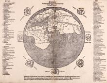 Mela (Pomponius) After.   [Orbis Situs Secundum Melam Pomponium Fideliter Representatus...], circular map of the classical world according to Pomponius Mela, the 1st century AD Roman geographer, showing Africa as a distinct continent, and all 3 continents surrounded by water, the hemisphere surrounded by 8 named wind-heads, without the additional 16 wind names noted in Shirley's example, a numbered key to 175 place names for the 3 continents in 2 columns, Europa and Aphrica to the left, and Asia to the right, with 3 additional names added in ink by an early hand, a single column of text below, starting 'Ne fortis quis frontem contrabat', woodcut map, 405 x 530mm. including all text, map and wind-heads 375 x 380mm., some repairs on central vertical fold, with resultant slight loss of text below, [c.f. Shirley 90 for the identical map with variant text and title above], [?Italy], [c.1550].   Extremely scarce, possibly an early state before the addition of the intermediate names of wind-heads, title above and altered text below (uppermost wind-head and its title also differ), Shirley notes of the map itself 'the style of the woodcutting, and the marking of the sea by fine horizontal incisions across the whole of the sea area, suggest a mid-sixteenth century preparation date (or earlier), with Italy the most likely location. However, those editions of Pomponius Mela published in Italy that I have consulted do not contain this map'.