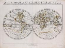 Sanson d'Abbeville (Nicolas)   Mappe-Monde, ou Carte Generale du Monde, double-hemisphere world, showing California as an island, but including a speculative northwest coast of North America, titled above, noted for Sanson's more scientific approach and move away from unnecessary decoration, engraved map with original hand-colouring in outline, 400 x 540mm., central vertical fold, a small surface loss in lower left of right hemisphere, affecting first letter of Terre Magellanique, [Shirley 390], Paris, Pierre Mariette, 1651.