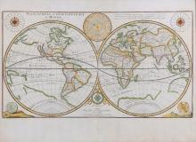 Du Val (Pierre)   Planisphere, ou Carte Generale du Monde, double-hemisphere world, showing California as an island, Australia and Antarctica speculatively outlined, with a diagram of the solar system upper centre, compass rose and wind rose in upper corners, a globe and armillary sphere in lower corners, titled upper left, engraved map with hand-colouring, 335 x 600mm., two vertical folds, slight splitting on the central one, [Shirley 441, 3rd state], Paris, 1676.