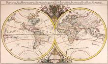 Sanson (Nicolas)   Mappe-Monde Geo-Hydrographique, ou Description Gerale du Globe Terrestre et Aquatique en Deux-Plans-Hemispheres, large double-hemisphere world showing California as an island, elaborate armorial head and tail pieces dedicated to the Dauphin, title panel above, engraved map with original hand-colouring, 560 x 910mm., repaired split on central vertical fold, with a related repaired tear into the lower left hemisphere, two others from the left sheet edge just into the map, the sheet lined, [Shirley 550], Paris, Hubert Jaillot, 1691.