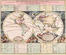 Doppelmayer (Johann Gabriel)  Basis Geographiæ Recentioris Astronomica, double-hemisphere world map with decorative borders of putti mapping the heavens, below, solar and lunar eclipses above, tables of figures above and below, engraved map with full original hand-colouring, sheet 490 x 580mm., central vertical fold, Nuremberg, Johann Baptiste Homann, [c.1720].