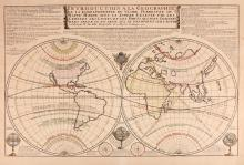 Fer (Nicolas de)   Introduction a la Geographie de la Corespondance du Globe Terrestre ou Mappe-Monde avec la Sphere Celeste, double-hemisphere world from Atlas du Recueil, with title banner and extensive text above, astrolabes, wind and compass roses below, engraved map with hand-colouring, 460 x 695mm., central vertical fold, pale even browning, Paris, 1722.