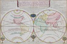 Fer (Nicolas de)   Introduction a la Geographie de la Corespondance du Globe Terrestre ou Mappe-Monde avec la Sphere Celeste, double-hemisphere world from 'Atlas du Recueil', with title banner and extensive text above, astrolabes, wind and compass roses below, engraved map with original hand-colouring, 460 x 695mm., central vertical fold, thread margins at sides, pale even browning, Paris, 1722.